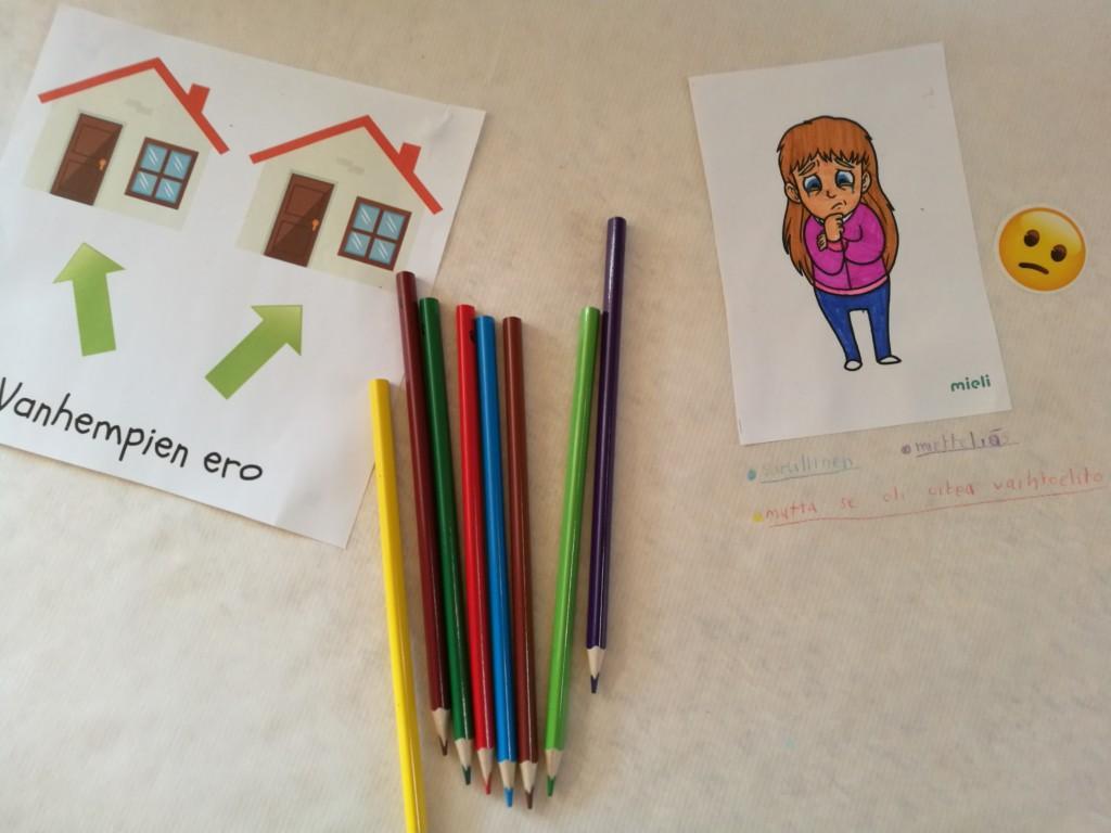 Kuvassa kortii, joka kuvastaa kahta kotia vanhempien erossa sekä väsrikyniä ja mielialakortti, jossa tyttö.